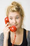Red telephone Stock Photo