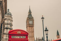 Red telephone booth and Big Ben in London Royalty Free Stock Images
