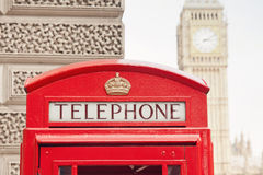 Red Telephone Booth and Big Ben in London Stock Photography