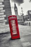 Red Telephone Booth and Big Ben in London street, uk Royalty Free Stock Photos
