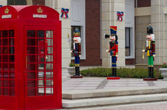 Red telephone booth and the British guards puppet, Stock Images