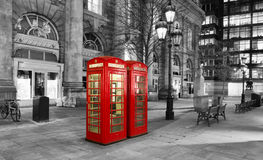 Red telephone booth in the City of London Royalty Free Stock Photo