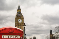 Red telephone booth front of Big Ben Royalty Free Stock Images