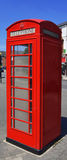 Red telephone booth in Harborne city center. Telephone booths in Birmingham city Royalty Free Stock Photos