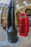 Red telephone booth in Hays Galleria, London. UK. Fish eye view Stock Image