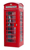 Red telephone booth in London isolated on white Stock Photography