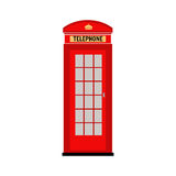 Red telephone booth in London. Vector. Illustration. Flat icon on a white background. Royalty Free Stock Photos