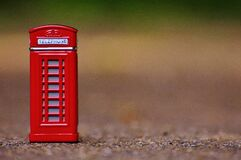 Red Telephone Booth Miniature Focus Photo Stock Images