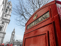 Red Telephone Booth in Parliament Square Royalty Free Stock Images
