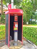 Red telephone booth in Singapore Royalty Free Stock Image