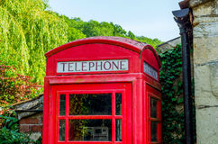 Red telephone booth, symbolic english red booth, england icon, c Stock Photography