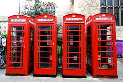 Red telephone booths in Cambridge Royalty Free Stock Images