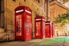 Red telephone booths in Covent Garden street, London, England Stock Photography