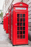 Red telephone booths Stock Images