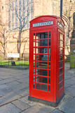 Red Telephone Box. On a British Highstreet Stock Image