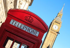 Red Telephone Box And Big Ben, London, England Royalty Free Stock Images