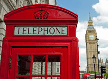 Red telephone box. And Big Ben in background, London Royalty Free Stock Images