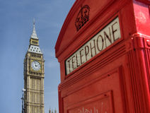 Red telephone box with Big Ben, London. Red telephone box in Westminster London with Big Ben in background Stock Photos