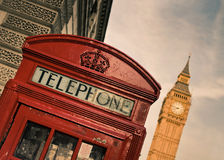 Red telephone box and Big Ben. In London Royalty Free Stock Image