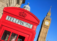 Red Telephone Box and Big Ben, London, England. Classic Red Telephone Box and Big Ben, London, England Stock Photos