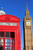 Red Telephone Box and Big Ben, London, England. Classic Red Telephone Box and Big Ben, London, England Stock Photo
