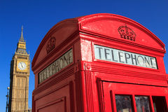 Red Telephone Box and Big Ben, London, England. Classic Red Telephone Box and Big Ben close up, London, England Royalty Free Stock Images