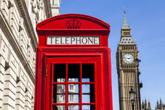 Red Telephone Box and Big Ben in London Royalty Free Stock Images