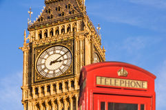 Red telephone box and Big Ben,  London UK Stock Photography