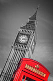 Red telephone box and Big Ben,  London UK Stock Images