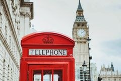 Red telephone box and Big Ben. London, UK Royalty Free Stock Image