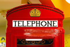 Red Telephone Box Built From LEGO Bricks Royalty Free Stock Photography