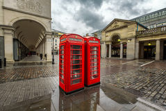 Red Telephone Box at Covent Garden Market on Rainy Day Royalty Free Stock Photos