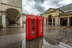 Red Telephone Box at Covent Garden Market on Rainy Day. London, United Kingdom Royalty Free Stock Photos