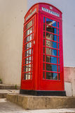 Red telephone box on Gibraltar Royalty Free Stock Photography