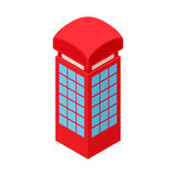 Red telephone box icon, cartoon style. Red telephone box icon in cartoon style  on white background. Conversations symbol Stock Images