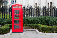 Red telephone box. In London Royalty Free Stock Photo