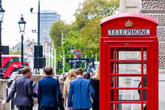 Red Telephone Box on London Street royalty free stock image