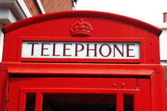Red telephone box in London, UK. Traditional red telephone box in London, UK Royalty Free Stock Images