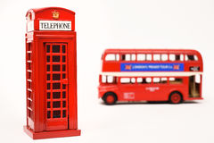 Red telephone box and red bus Royalty Free Stock Photos