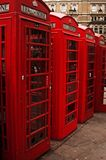 London telephone booths, deep red for one of the symbols of the city stock images