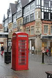 Red Telephone Box. A traditional red telephone box in Chester. England. United Kingdom Stock Photos