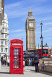 Red Telephone Box in Westminster, England Royalty Free Stock Photos