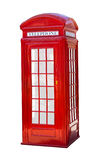 Red telephone box. On white isolated background Royalty Free Stock Image