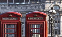 Red telephone boxes Stock Photos
