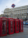 Red telephone boxes near Charring Cross, London Royalty Free Stock Photos