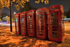 Red telephone boxes night London Royalty Free Stock Images
