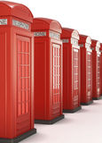 Red Telephone Boxes in a row. 3d render image. Stock Images