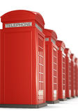 Red Telephone Boxes in a row. 3d rendering. Stock Photo