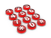 Red telephone buttons Royalty Free Stock Photography