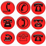 Red telephone buttons Royalty Free Stock Photos